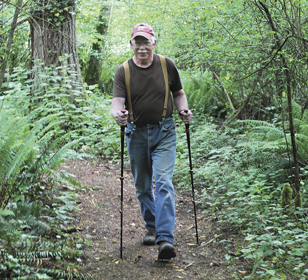 Phil walking his Camino at his home on Vashon Island, Washington state. Click the image for an article about Phil and his Camino.